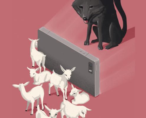 Wolf und smartphone
