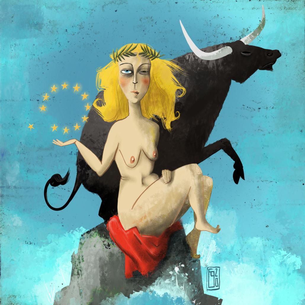 Europa als Frau sitzt vor dem Stier, in der Hand die Sterne der Europaflagge.